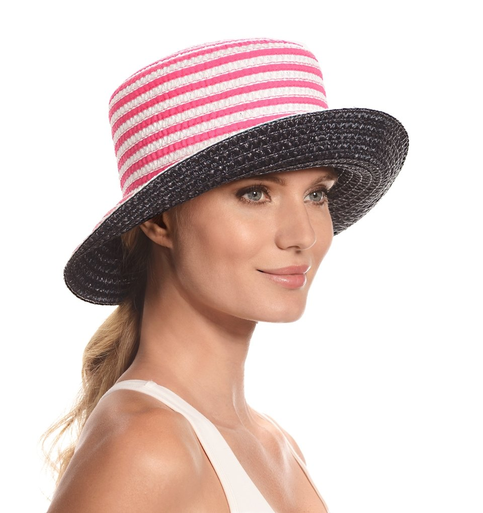 Eric Javits Fashion Designer Women's Headwear Hat - Braid Dame - Fuchsia/White/Navy by Eric Javits