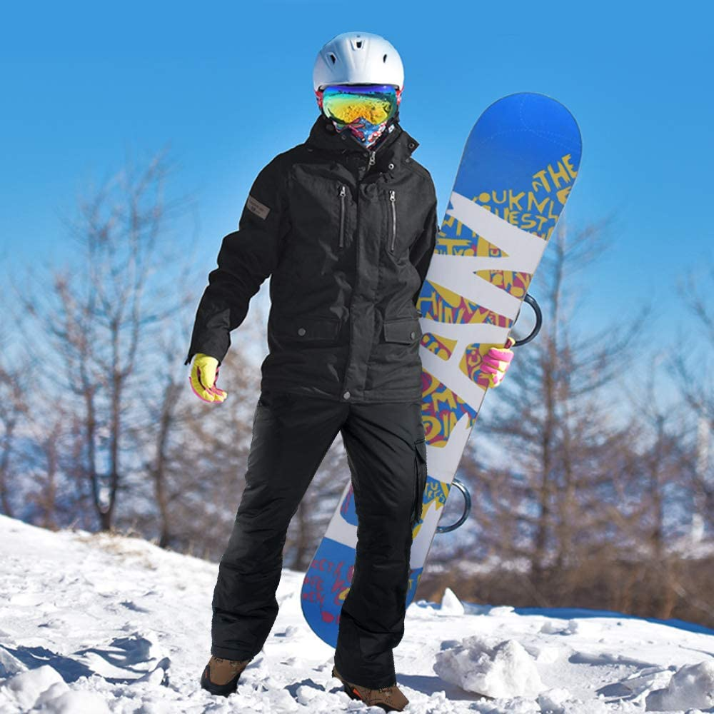 OUTON Mens Snow Pants Insulated Ski Pants Breathable Windproof Waterproof Winter Snowboarding Pants for Outdoor and Hiking