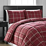 3 Piece Light Grey Red Plaid Comforter Queen Set, Cozy Warm Cabin Themed Bedding Checked Lumberjack Pattern Lodge Southwest Tartan Madras Cottage Rustic, Modern Polyester