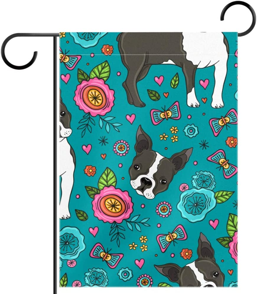 Boston Terrier and Beautiful Flowers Seasonal Garden Flag Double Sided Spring Summer Yard Outdoor Decorative Holidays Flags Weather Resistant 28 X 40 Inch
