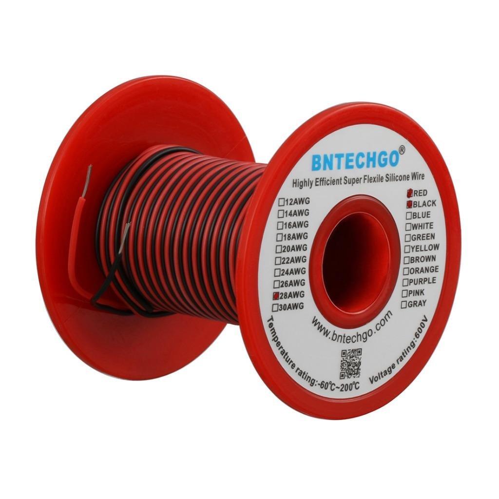 Bntechgo 28 Jauge Fil de silicone souple et ré sistant aux tempé ratures é levé es trè s efficace 28 AWG câ ble silicone 16 brins de fil de cuivre é tamé , 25 ft Black and 25 ft Red b