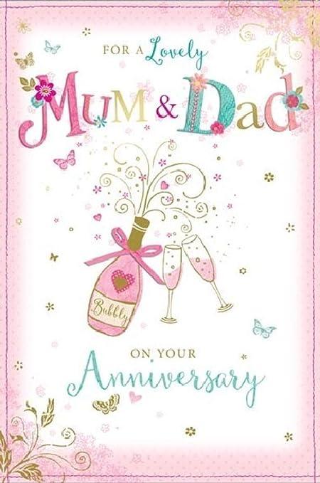 Tarjeta de felicitación de aniversario de boda grande para mamá y ...