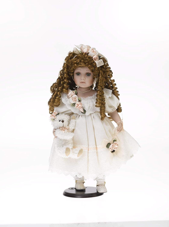 Porzellanpuppe, Sammlerpuppe, Sammlerpuppe, Sammlerpuppe, Künstlerpuppe ca. 48 cm, helles Kleid 6ea500
