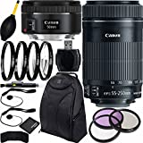 Canon EF-S 55-250mm f/4-5.6 IS STM & EF 50mm f/1.8 STM Lens Bundle with Accessory Kit for EOS 7D Mark II, 7D, 80D, 70D, 60D, 50D, 40D, 30D, 20D, Rebel T6s, T6i, T5i, T4i, SL1, T3i, T6, T5