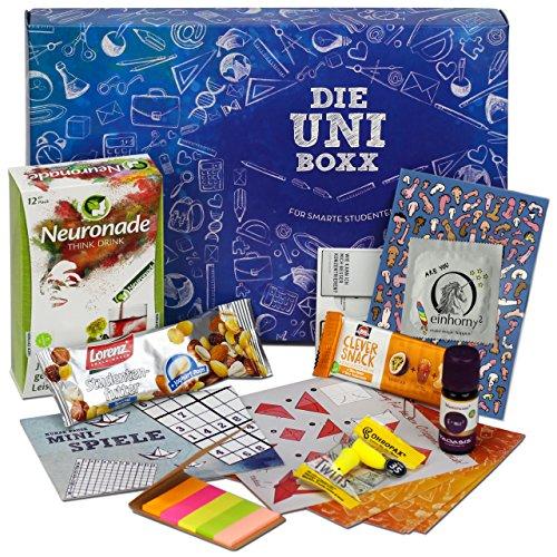 Uni-Boxx (13 Teile) - hochwertiges Geschenk für Studenten zur Lernmotivation | mit Studentenfutter, Neuronade, vielen Lernhilfen, gesunden Snacks & Co. | Die Geschenk-Box für Uni-Start & Prüfungszeit!