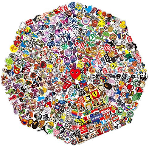 QWDDECO Sticker Pack (360 PCS) Vinilo Pegatinas para portatiles, botellas de agua, equipaje, monopatin, PS4, Xbox one, Iphone, los mejores regalos para adultos, adolescentes, ninos y ninas Calcomanias