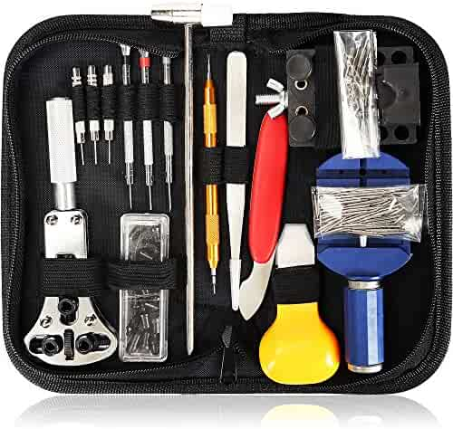 E.Durable 147 in 1 Watch Repair Kit Professional Screwdriver Spring Bar Tool Set, Watch Band Link Pin Tool Set with Carrying Case (Watch Repair Set -1)