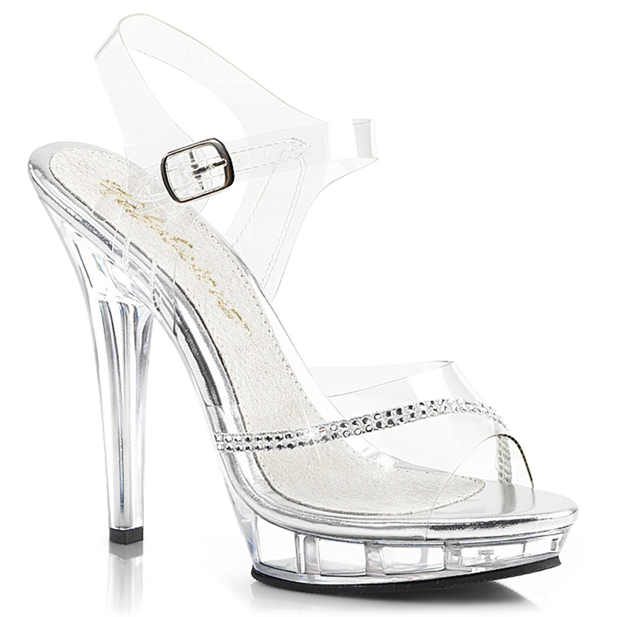 Womens Clear Detail Pageant Shoes with Rhinestone Detail Clear and 5 Inch Clear Heels B00R3I5VE2 5 B(M) US 2092f9