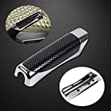 Car Hand Brake Break Protector Decoration Cover Wooden and Carbon Fiber Style Hand Brake Cover with Sticky Gum(Black Carbon Fiber)