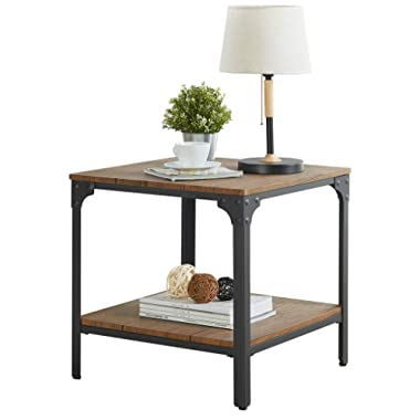 """Homissue 21.7""""Height Industrial Square Sofa Side Table, Metal Frame Accent End Table with Storage Shelf for Living Room & Office, Brown Finish"""