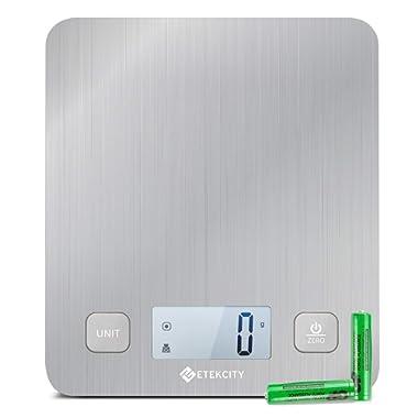 Etekcity EK6212 Kitchen Food Digital Cooking Multifunction Weight Scale, Large Platform 11lb 5kg, Batteries Included (Stainless Steel)