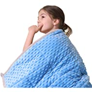"JHMENG Weighted Blanket for Kids (5 lbs, 36"" x 48"") Upgrade Versionn Plush Minky One Piece Design"