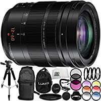 Panasonic Leica DG Vario-Elmarit 12-60mm f/2.8-4 ASPH. POWER O.I.S. Lens 14PC Accessory Bundle – Includes Manufacturer Accessories + 3 Piece Filter Kit (UV + CPL + FLD) + MORE