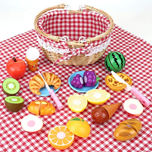 BeebeeRun 19Pcs Pretend Toy Food Set, Slice & Share Picnic Basket Play Food Playset with Cutting Food Fruits, Great for Girls Boys Toddler Indoor & Outdoor Pretend Play