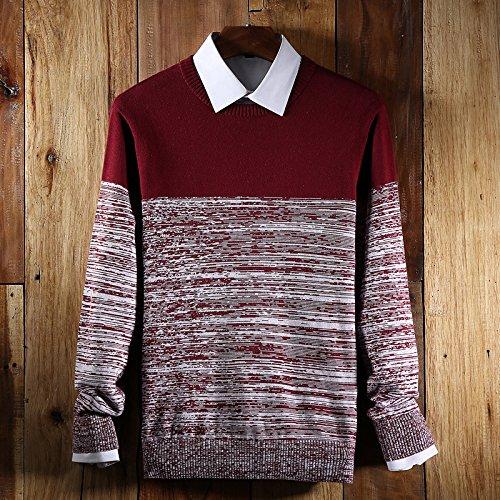 Jdfosvm männer - 2 männer Mode Rollkragen - Pullover des britischen Stil Pullover Stretch - Pullover,Rot - rot,XL