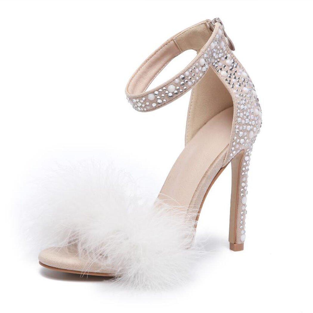 GAOLIXIA Frauen High Heels Pumps Strass Niet Hochzeit Schuhe Open Toe Quaste Sandalen Mode Arbeit Karriere Schuhe Court Schuhe Kleid Party