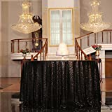 """PartyDelight Sequin Tablecloth, Christmas Tree skirt, Round, 48"""", Black"""