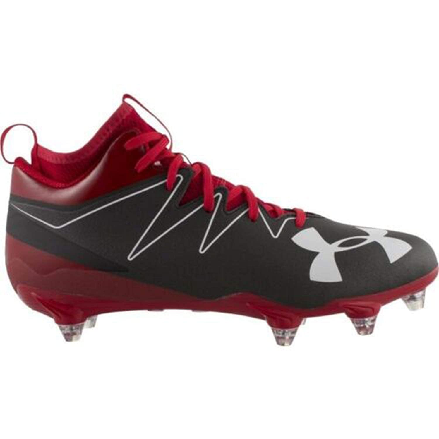 Under Armour Nitro Mid D Men's Football Cleats (8, 黒/赤 (061))