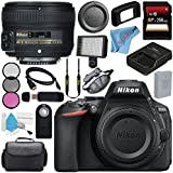 Nikon D5600 DSLR Camera (Body Only) (Black) 1575 AF-S 50mm f/1.8G Lens 219958mm 3 Piece Filter Kit + 256GB SDXC Card + Card Reader + Professional 160 LED Video Light Studio Series Bundle