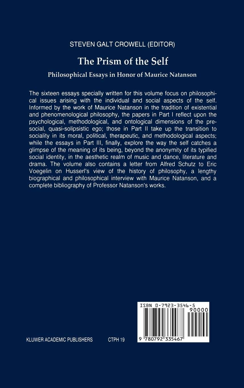 The Prism of the Self: Philosophical Essays in Honor of Maurice Natanson