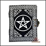 Silver Pentagram Pentacle Wicca Pagan Handmade Book of Shadows Embossed Leather Journal Notebook Diary Organizer Daily Planner Office Diary 5 x 7 inches