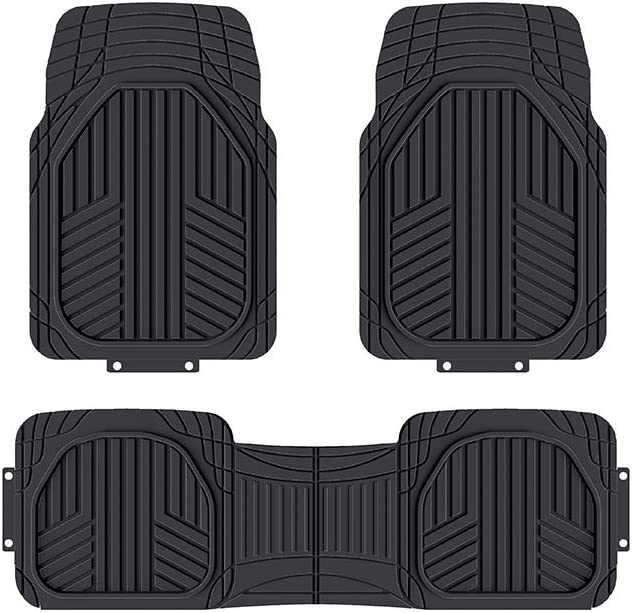 AmazonBasics 3-Piece All-Season Heavy Duty Rubber Floor Mat for Cars, SUVs and Trucks, Black