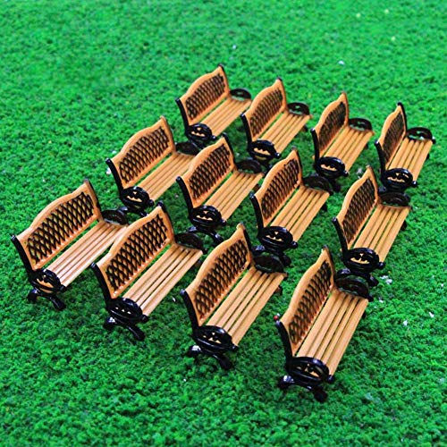 Evemodel ZY35087OB 12pcs Model Train Platform Park Street Seat Bench Chairs Settee 1:87 HO Scale