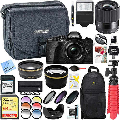 Olympus E-system Travel Bag (Olympus OM-D E-M10 Mark III Mirrorless Digital Camera (Black) with 14-42mm EZ & Sigma 30mm Lens Deluxe Accessory Kit + Olympus Camera Case and 16MP SD Memory Card)