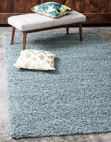 Unique Loom Solid Shag Collection Light Slate Blue 9 x 12 Area Rug (9' x 12') (Rug 9 9 X Area)