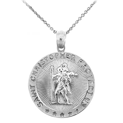 """0c3e16f8fc9 925 Sterling Silver St Christopher Medal Catholic Charm Traveler Protection Pendant  Necklace, 16"""""""