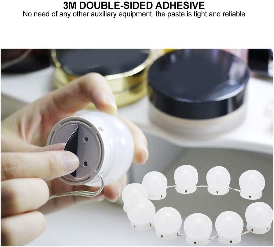 lahomie Makeup Mirror Lights 10 LED Light Bulbs Vanity Mirror Light Kit Waterproof Dressing Light with Adjustable Brightness USB Charging
