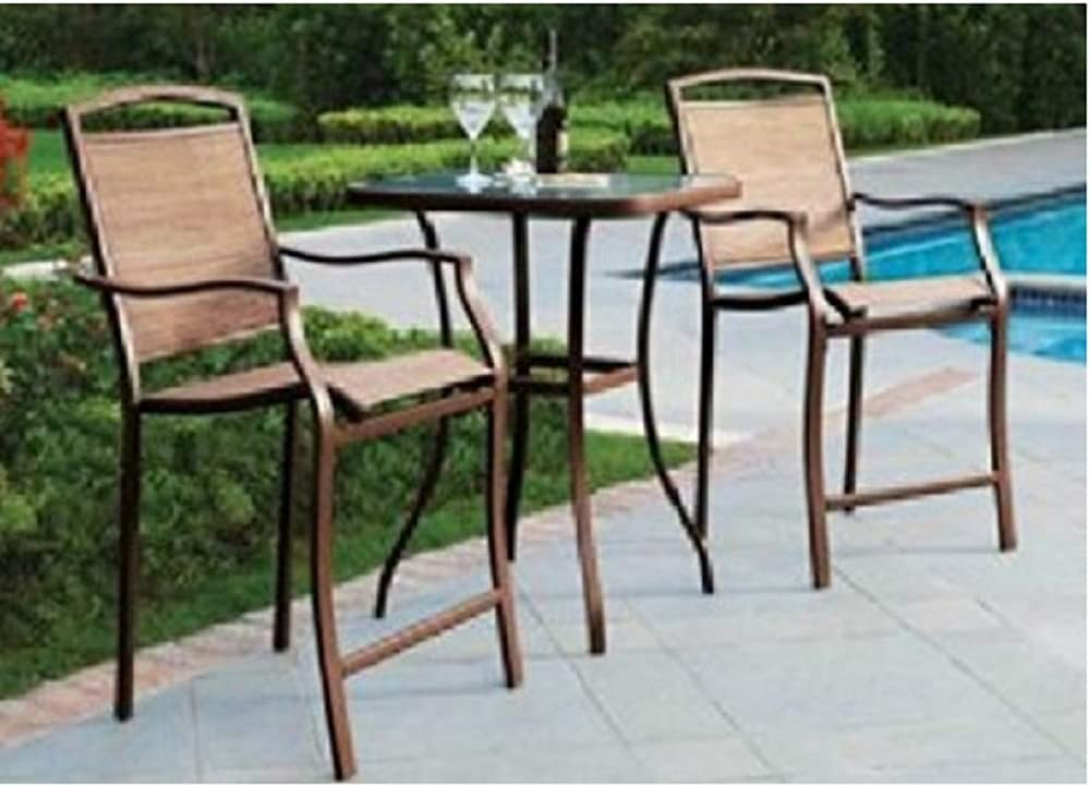 Amazon Com 3 Pc High Top Bistro Table Chairs Set Slingback Material 2015 Garden Outdoor