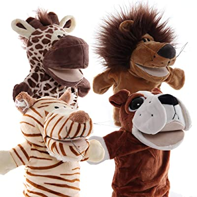 Animal Hand Puppet with Working Mouth (Pack of 4) for Imaginative Play Plush toy (animal 1): Office Products