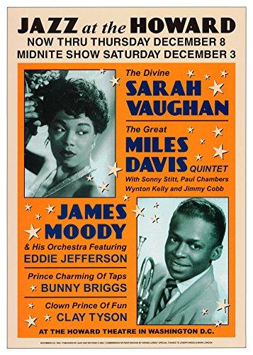 Sarah Vaughan and Miles Davis at the Howard Theatre, Washington D.C. Art Print by Dennis Loren 17 x 24in