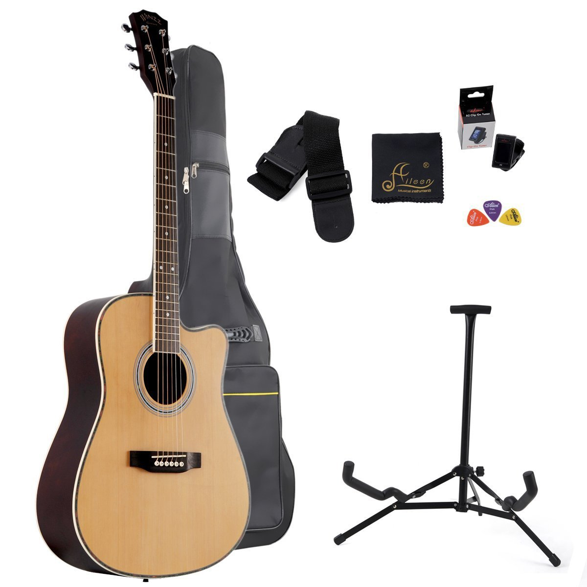 Aileen 41 Inch Full Size Spruce Cutaway Acoustic Guitar with bag, stand, tuner (Natural)