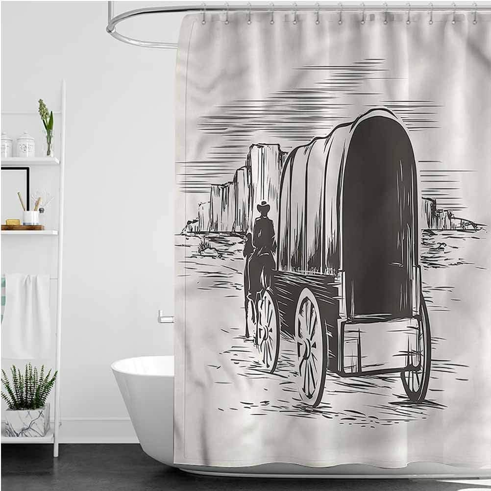 Interestlee Western Beach Shower Curtain Traditional Wagon Pioneer Waterproof Summer Bath Decor, 60 x 72 Inch