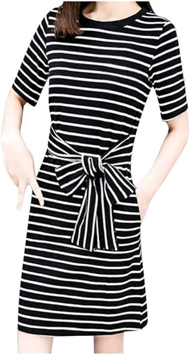 Women New Fashion Stripe Short Sleeve Slim Pencil T-Shirt Dress Casual with Belt