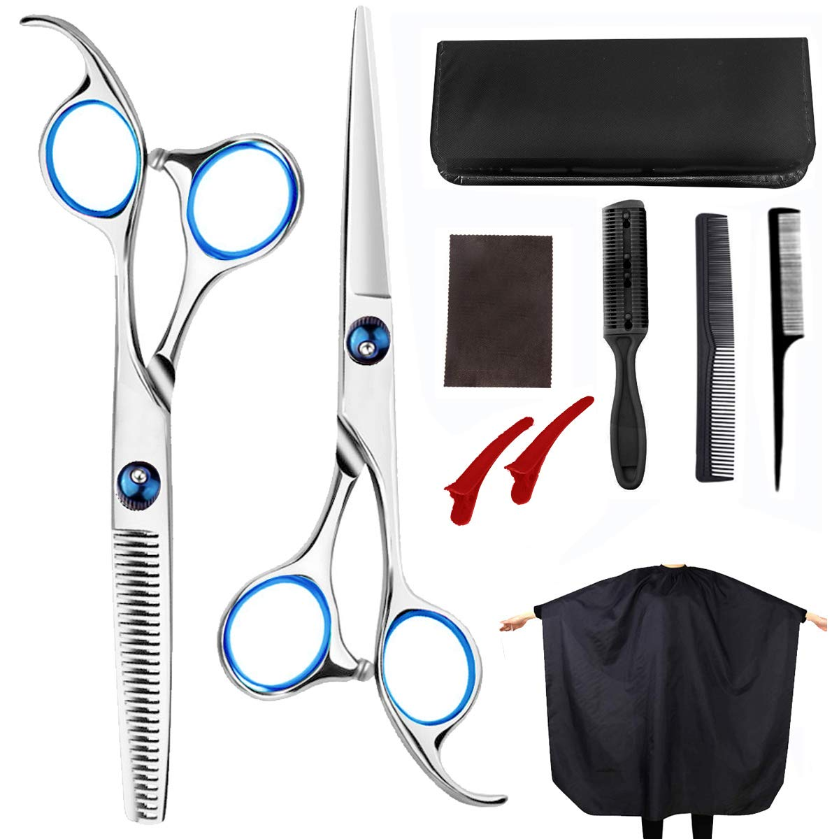 Professional Hair Cutting Scissors 12 PCS 12.12inch Barber Thinning Scissors  Hairdressing Shears Stainless Steel Hair Cutting Shears Set with Cape Clips