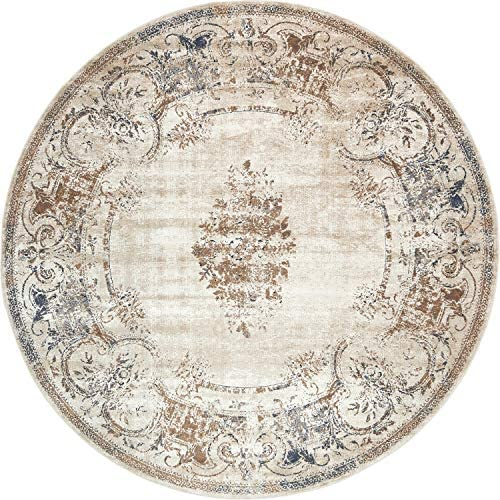 Unique Loom Chateau Collection Distressed Vintage Traditional Textured Beige Round Rug 8 0 x 8 0