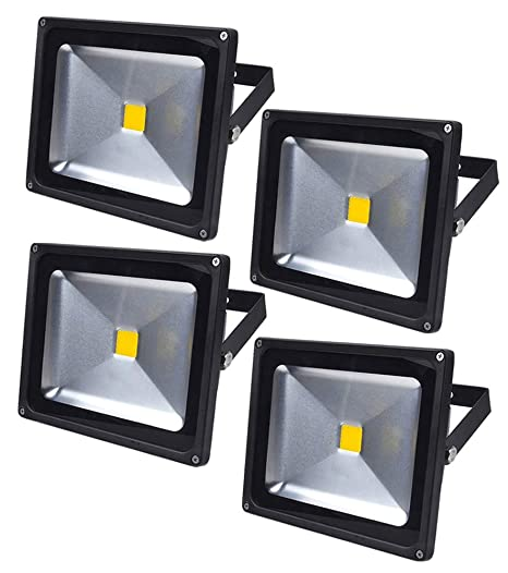 Leetop 4X 30W 10W 20W Negro Blanco Cálido Foco Proyector LED Proyector LED IP65 Exterior Iluminación Reflector para Jardín,Terraza(30 Watt)