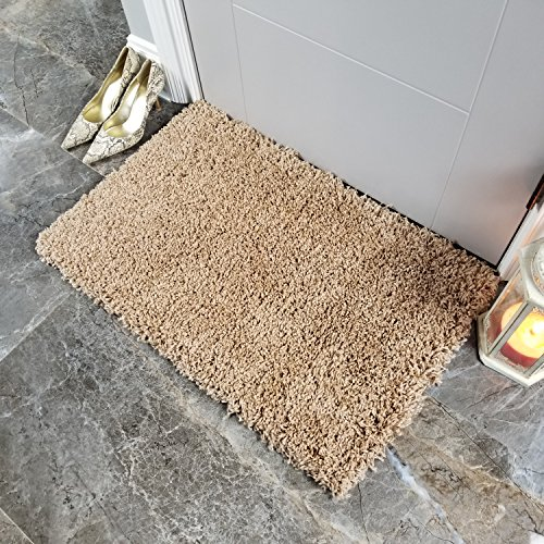Maxy Home Soft Shag Area Rug 20'' x 31'' | Doormat Accent |Plain Solid Color BEIGE - Contemporary Area Rugs for Living Room Bedroom Kitchen Decorative Modern Shaggy Rugs by Maxy Home