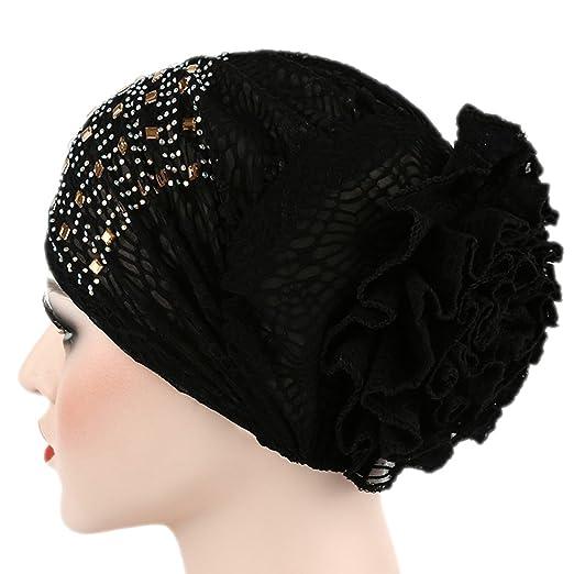 Raylans Women Elastic Flower Hat Turban Chemo Cancer Hair Loss Cap Head Wrap  Black 9692714f8369