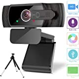 Webcam with Microphone,MAXKU 1080P Computer Business Webcam [Privacy Cover &Tripod] USB Camera 110-Degree Wide View…