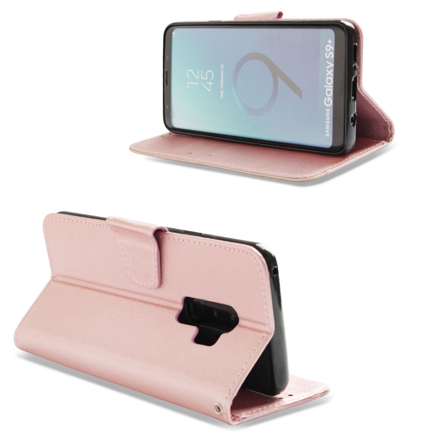 Handyh/ülle Lederh/ülle Schut H/üllen Flip Case Leder Klapph/ülle Handytasche Magnet f/ür Samsung Galaxy S9 Plus,Rose Gold,Dunkelgrau NO f/ür S9 H/ülle Vectady f/ür Samsung Galaxy S9 Plus