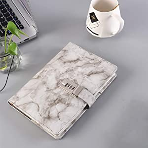 Powerole A5 Combination Lock Marble Notebook Creative Diary with Lock, PU Leather Premium Thick Paper Notepad for Women Teenagers Kids, 192 Pages
