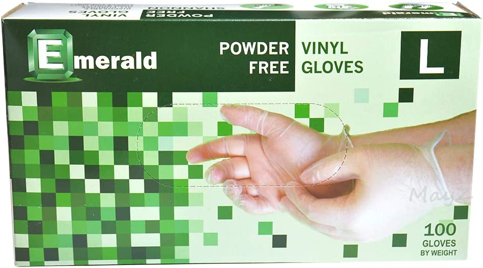 Emerald Shannon Powder Free Vinyl Gloves 100 Gloves (Larger #VN9708)