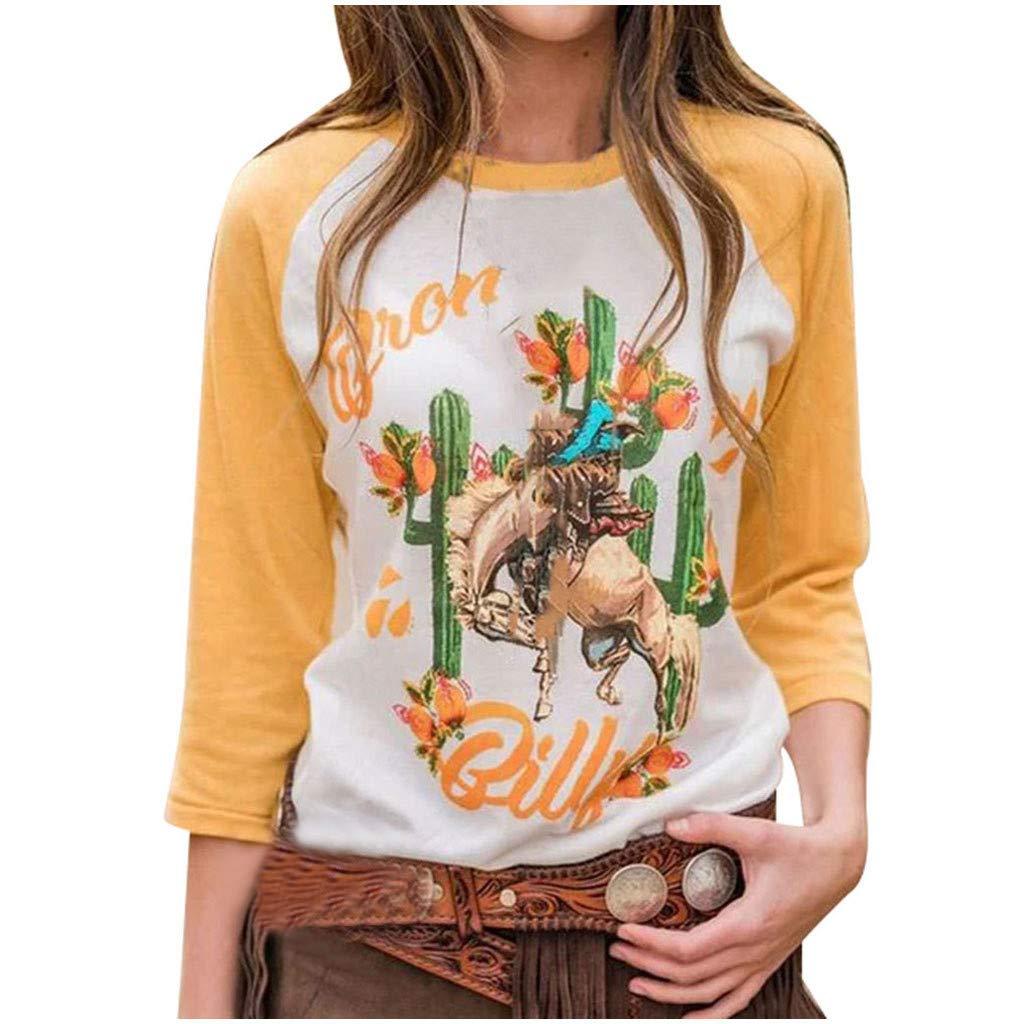 KANGMOON Women Fashion Round Neck Baseball Cactus Print Tops Long Sleeve Casual Pullover Sweatshirt T-Shirt Blouses