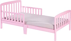 Bold Tones Classic Wooden Girls Boys Toddler Kids Bed Frame with Double Adjustable Guard Rails, Pink with Mattress Included