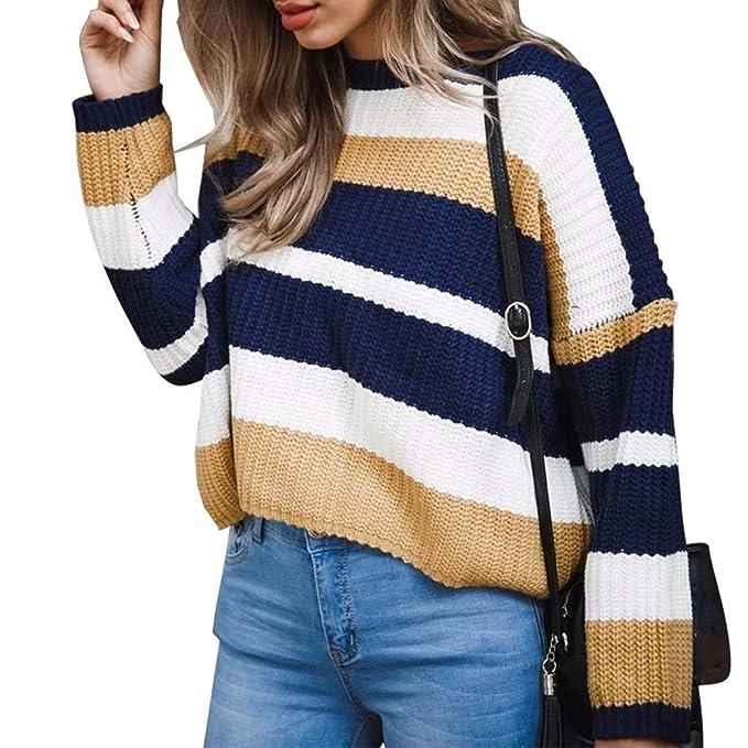 Longra Otoño e Invierno Mujer Moda Invierno Manga Larga Patchwork Tops Suelta suéter Blusa