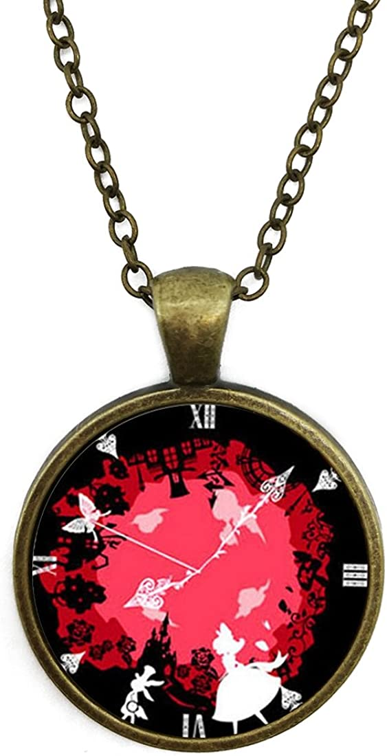 5 Styles Round Shape Cupid Gears Clock Pendant Necklace Adjustable Length Handmade Jewelry Chain Included